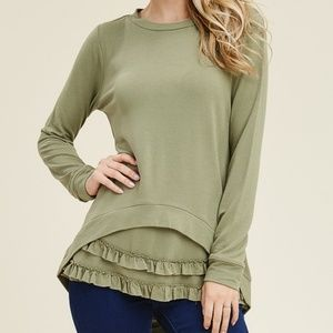 NWT Staccato light olive ruffled knit top